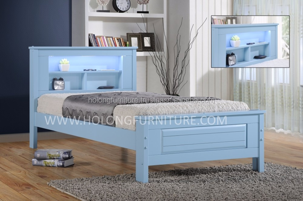Solid Wood Bed, Single and Super Single Kids Bed Frame, Solid Wood Bed with Storage, Plywood LVL Solid Wood Slatted, Modern