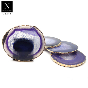 Tableware healing crystals rocks geode slices set cup housewarming gift irregular purple agate coasters
