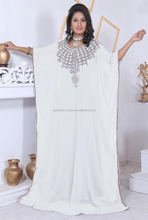 Latest and luxurious pattern design base 100 % quality chiffon base pure white color attractive abaya with handwork kaftan dress