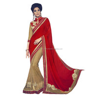 Red Crushed Georgette Net Saree / Bollywood Sarees Wholesale / Designer Sarees Online Shopping Low Price