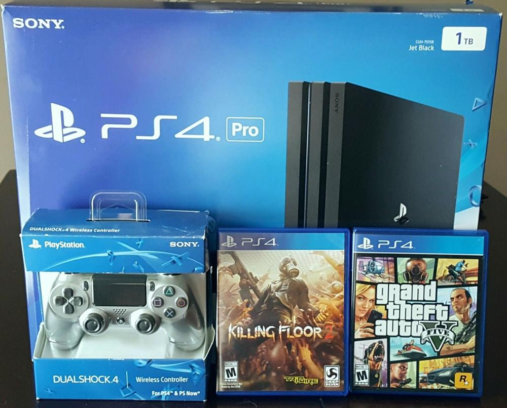 FREE SHIPPING SONY PLAYSTATION 4 PS4 Console pro 1TB 20 GAMES & 2 controllers