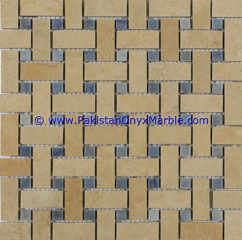 Exporter supplier for marble mosaic tiles Indus Gold Inca square brick honed polished floor wall Kitchen bathroom mosaic tiles
