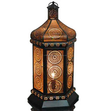 Moroccan Floral Cut-Out Metal Lantern