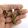 Especial tiger eye gemstone jewelry set handmade indian 925 sterling silver wholesale jewellery silver sets