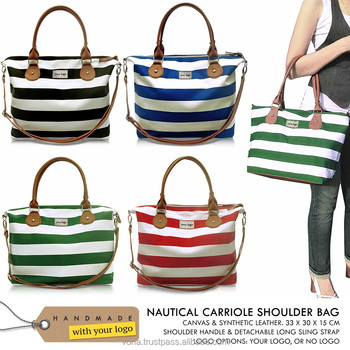 Your Logo Women Handbag Nautical Stripe Canvas Shoulder Beach Weekend Sling Crossbody Casual Designer Bag (CAR)