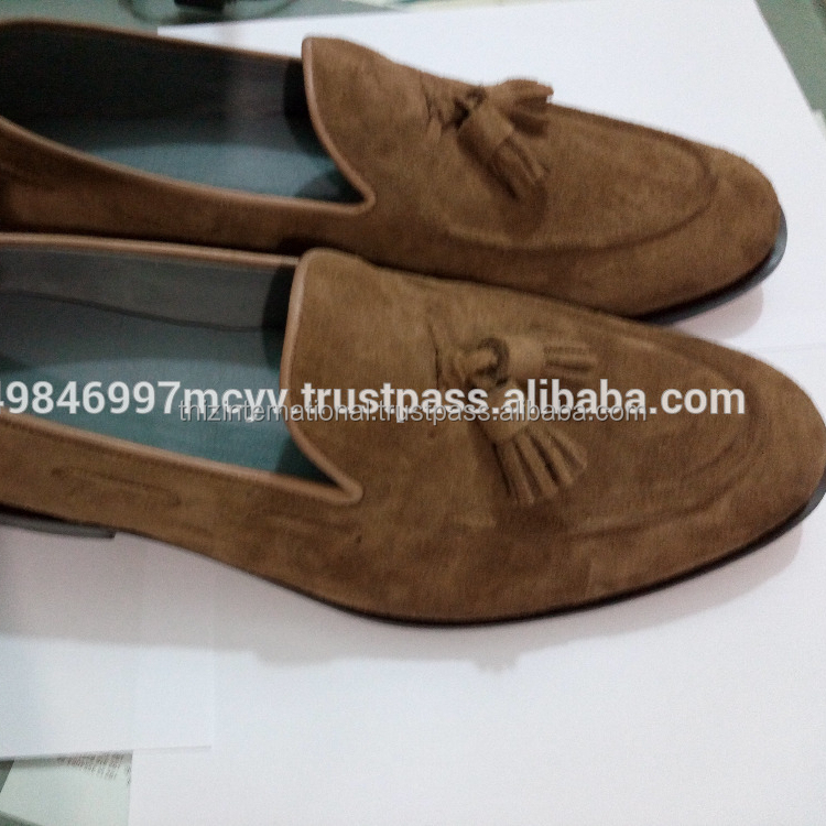 handmade suede leather loafers mens shoes leather sole moccasins shoe