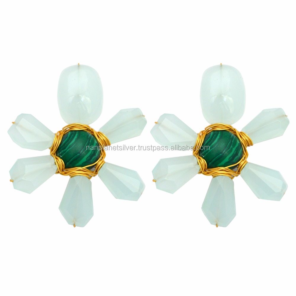 Aqua Chalcedony With Malachite Wire Wrapped Earring Studs