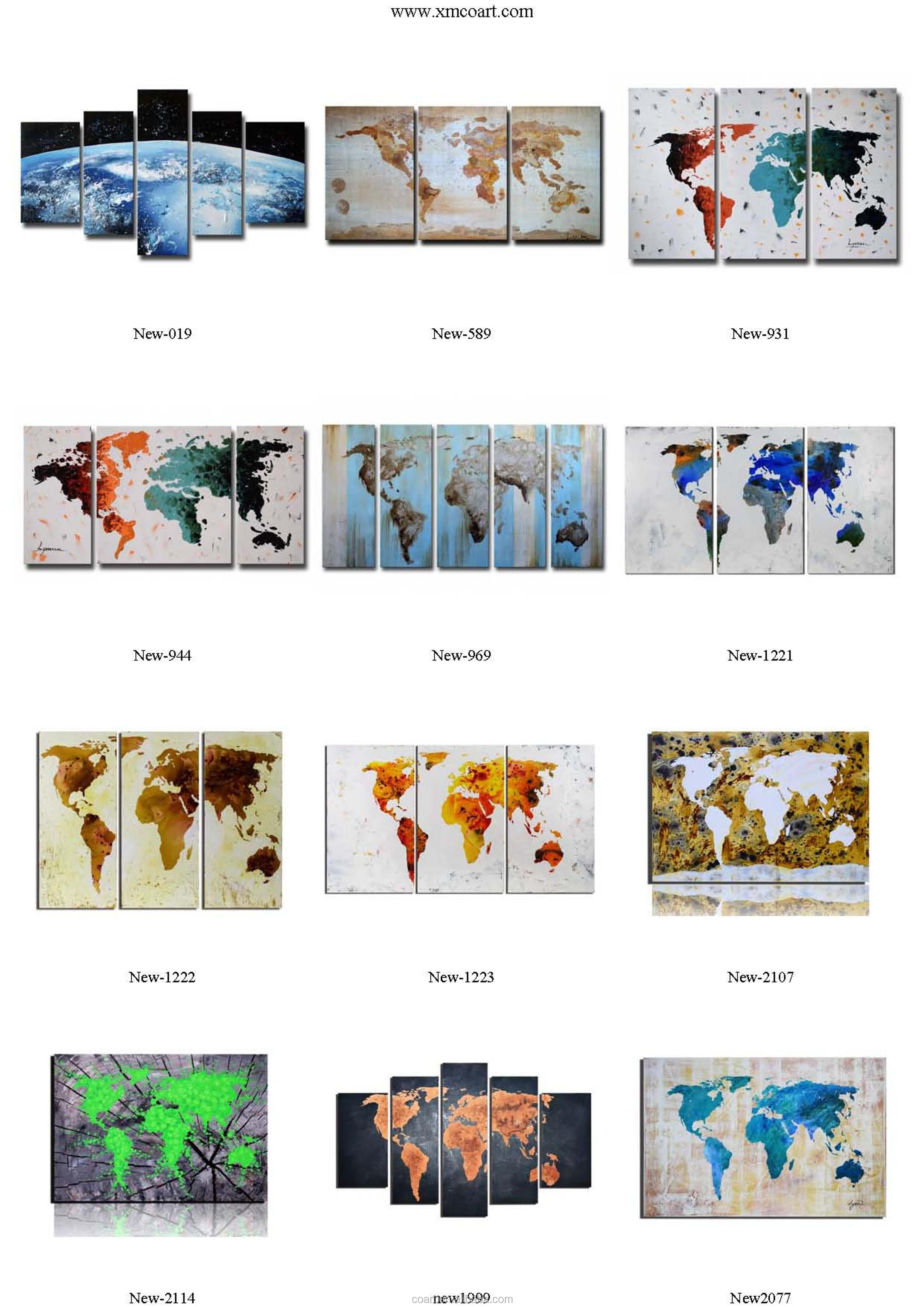 Handmade World Map Office Wall Decoration Pictures Oil Painting