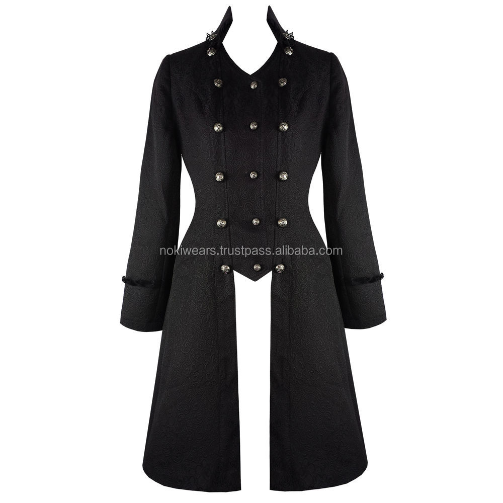 Ladies Cut Steampunk Vintage Tail Coat Black Trench Tailcoat Military Bomber Jacket, High Quality Gothic Velvet Coat For Mens