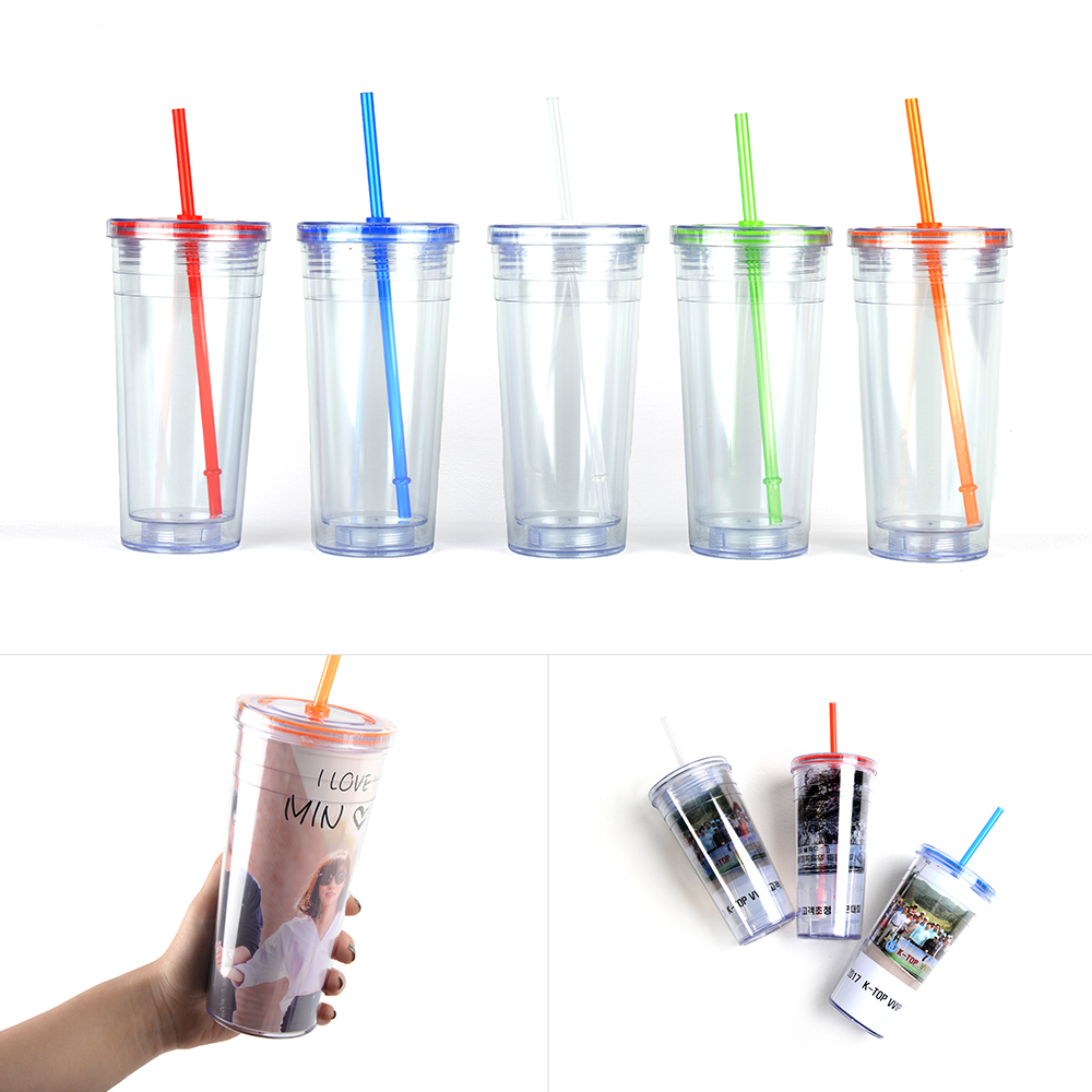 DIY Ice Tumbler Inner & Outer Cup Put Picture Colors Straw 500ml Travel Gift