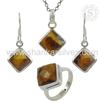 Beautiful tiger eye jewelry set handmade 925 sterling silver jewelry jewelry wholesalers
