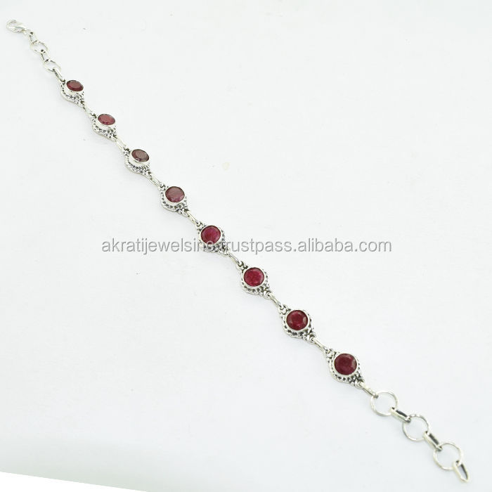 Solid 925 Sterling Silver Royal Ruby Gemstone New Bracelet Brand New Jewellery