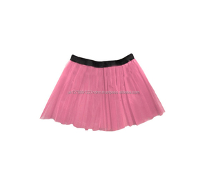 "Baby Pink Long 14"" Neon 3 Layers Net UV Flo Tutu Skirt Hen Fancy Dress Party Adult Size Children Size - UK Stock Fast Shipping"