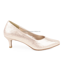 Metallic pointed toe women pump shoes with kitten heel
