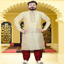 Party Wear Raw Silk Embrodery Work for MENS short Kurta Pajama DESIGNS