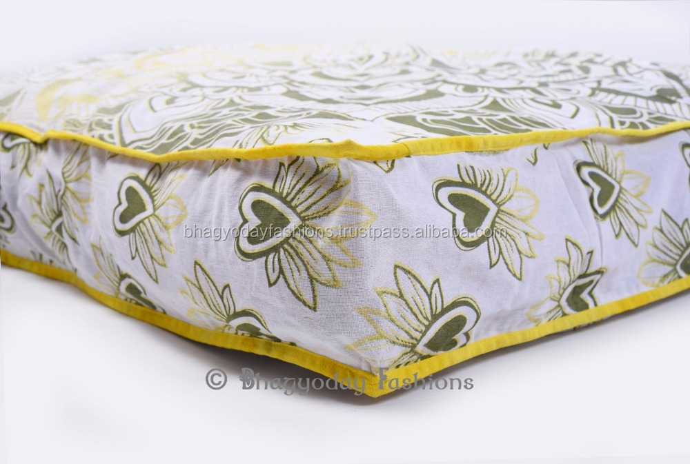 Mandala Meditation Floor Cushion Cover Square Dog Daybed Decor Foot Stool Ottoman Pouf 35x35 Inch