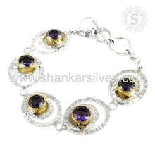 Wedding specialized amethyst gemstone bracelet 925 sterling silver handmade jewelry wholesale india