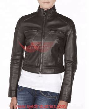 Ladies Leather jacket with Best hardware (buttons,snaps,buckles) (Zww-01)