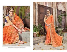 Indian Ethnic Exclusive Designer Georgette Sari Heavy Blouse