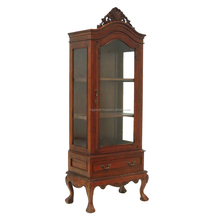 Best Quality Antique Wood Chipp Glass Living Room Cabinet with Drawer