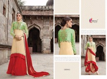 Bikaw Fashion Latest Cream and Red Embroidered Classic Lehenga Kameeze