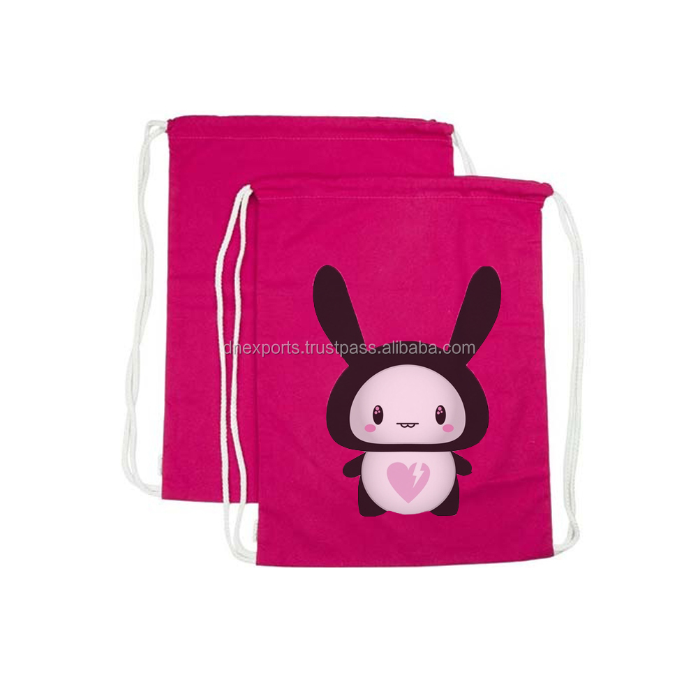 Eco-friendly school sport backpack drawstring cotton bag