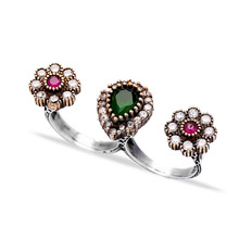 Silver Jewelry With Gemstones Ottoman Desing Wholesale Handcrafted Authentic Silver Double Finger Ring 925 Sterling Silver