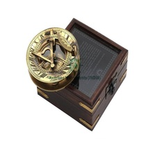 Solid Brass Nautical Collectable Sundial Compass -Hatton Garden Sundial Compass with Hard Wood Glass Top Box