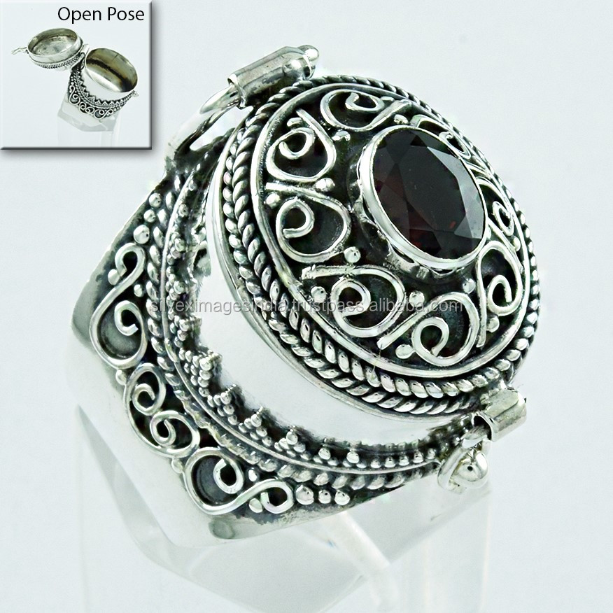 Royal Look Red Garnet Stone Poison Ring Handmade 925 Sterling Silver Ring Wholesaler India