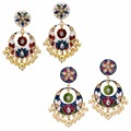Jaipur Mart Gold Plated Kundan Meenakari Work Multi Color With Imitation Pearls Earrings Set of 2 Pairs Earrings For Girls