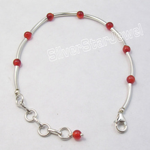 "925 Sterling Silver Tubes & Pipes RED CARNELIAN Beads ART Expandable Bracelet 7.7"" Modern Tibetan Women Jewellery Supplier"