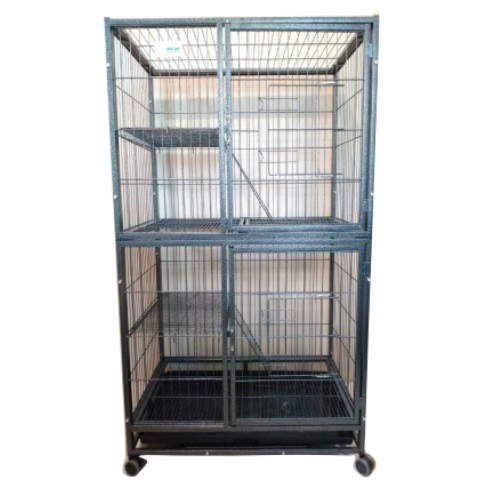 2 Level Stainless Steel Big Cat Cage with Wheels