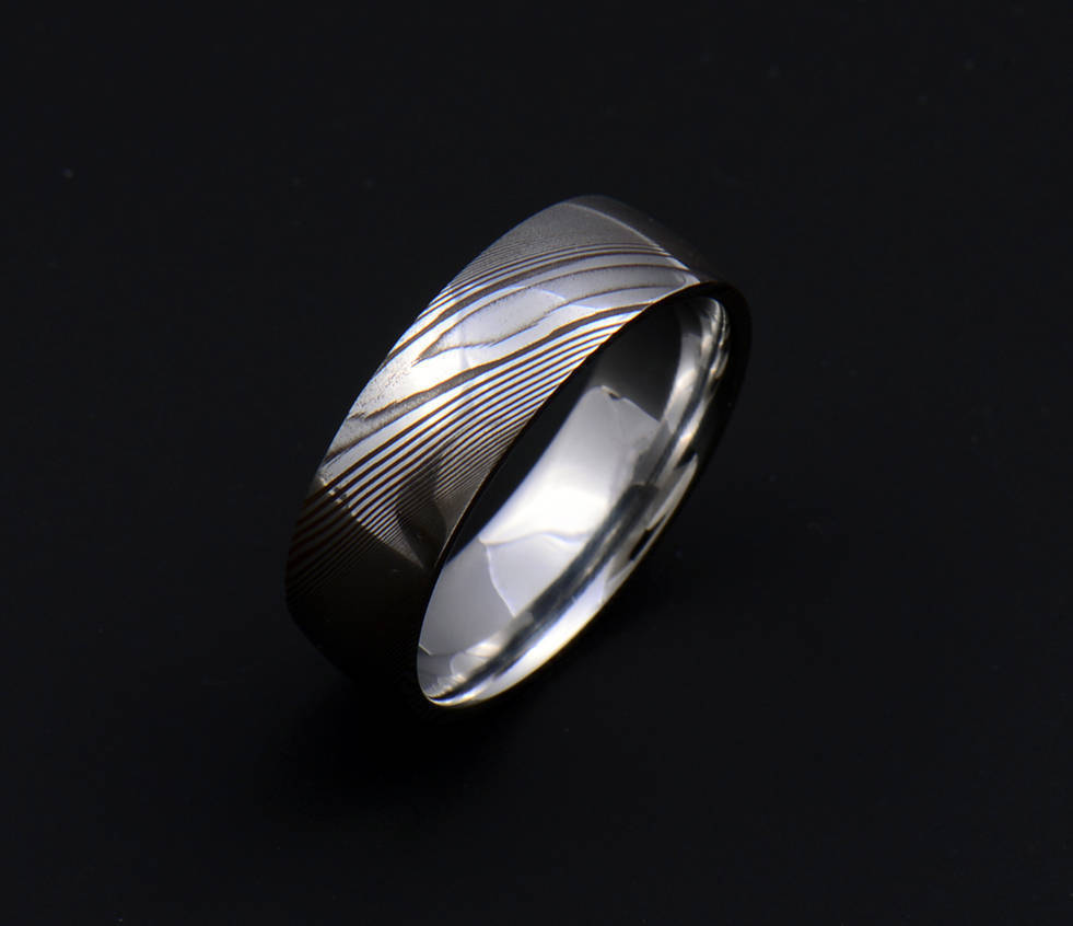 Genuine Damascus Steel Mens Ring PD103