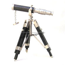 NAUTICAL MARINE Brass Replica Design Telescope with Wood Tripod Floor Stand CHTEL5024