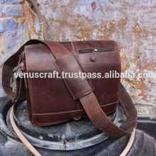 Hand Made Pure Crazy Horse leather Satchel style Briefcase Leather bag