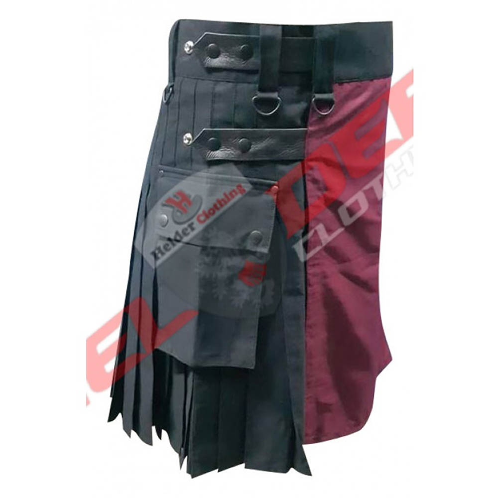 men 2 tune red wine and black utility kilt with 4 genuine leather straps adjustable waist with leather straps