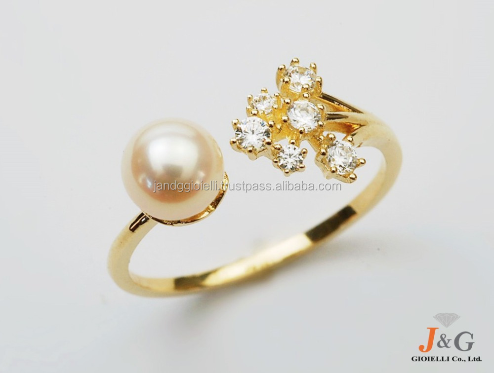 9K, 10K, 14K, 18K Yellow gold & Pearl design jewelry ring in South Korea