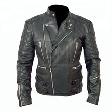 Mens Motorcycle Biker Black Genuine Leather Jacket
