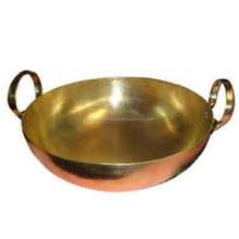 Brass Copper Plated Wok Bowl or Kadhai