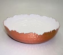 Decorative Aluminum Bowl White Meena & Copper & Nickel Bowl