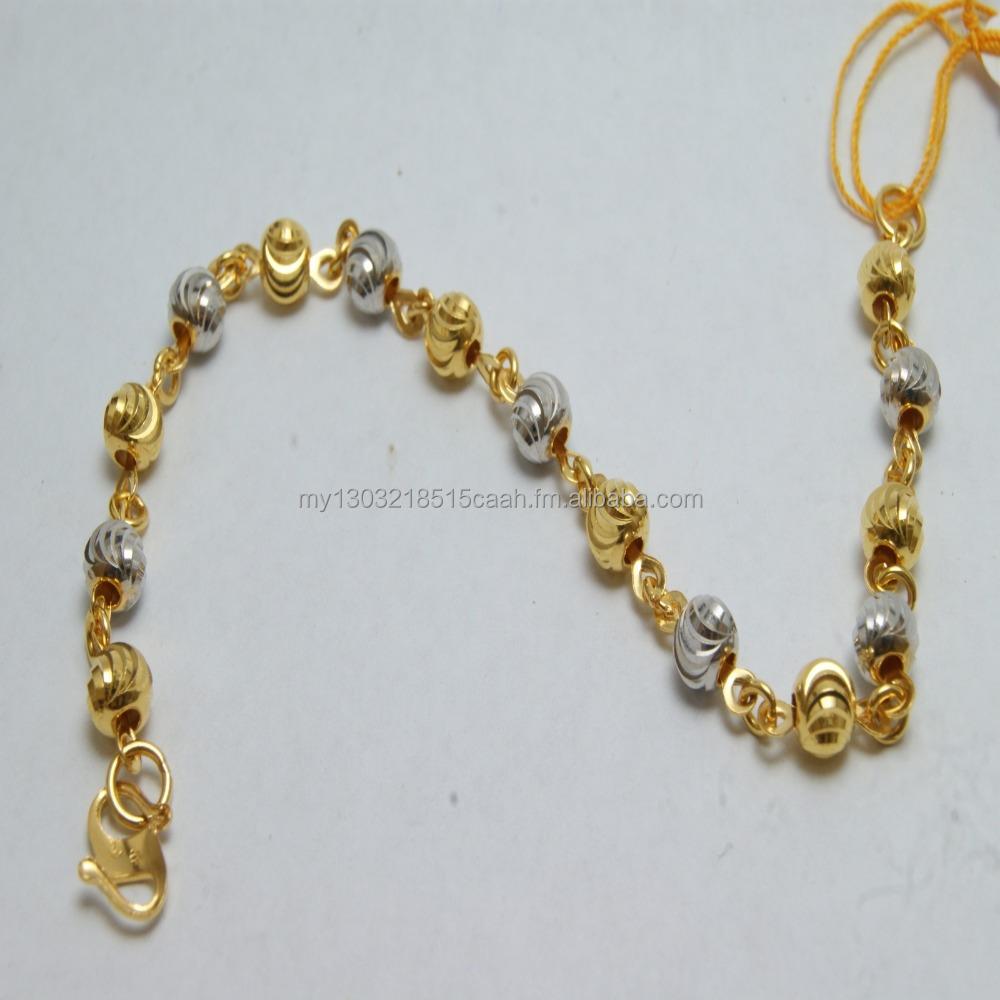 22K Solid Yellow Gold Chain Link With Ball Women Bracelet