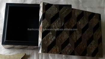 decorative square box finish with 3D pattern mother of pearl and black lacquer