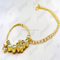 Bridal Wedding Wear Gold Plated Handmade Kundan Stone Pearl Beaded Indian Ethnic Fashion Nath Nose Ring Jewelry
