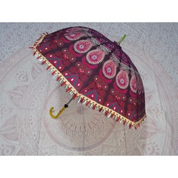 Indian UV Protection Beach Handmade Parasol Wedding Umbrella Designer Made By Mandala Cotton Tapesrty