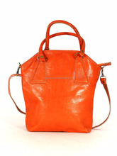 Handmade orange leather handbag