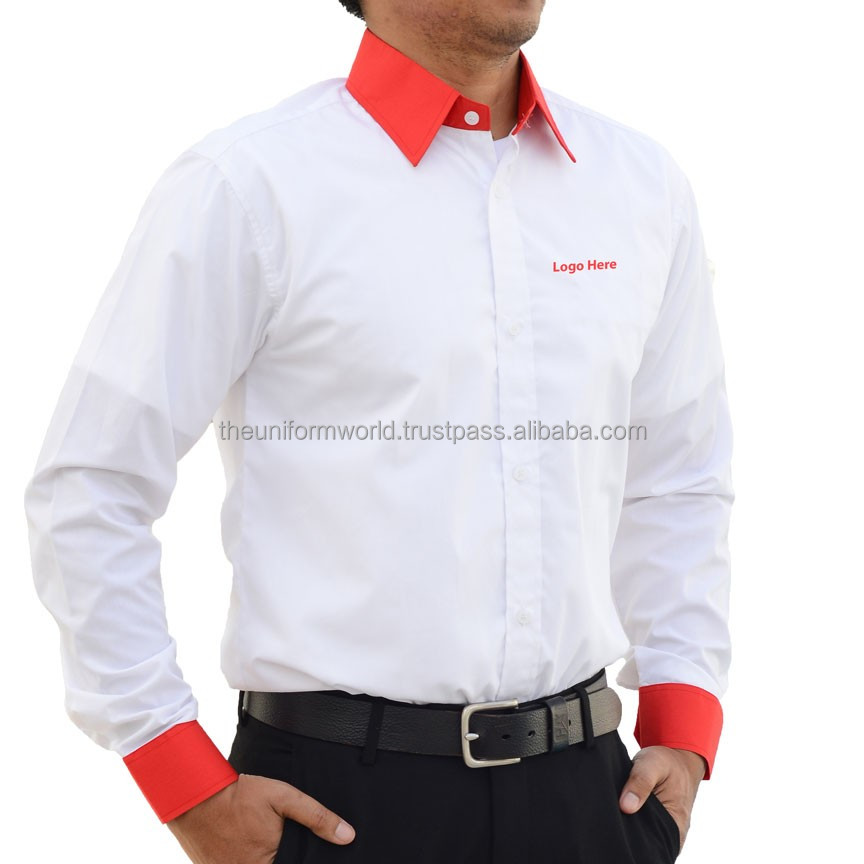 Full Sleeve Shirt Plain White with Red Contrast Poly Cotton Corporate Wear Uniforms