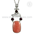 Handmade silver pendant multi gemstone 925 sterling silver jewellery exporter