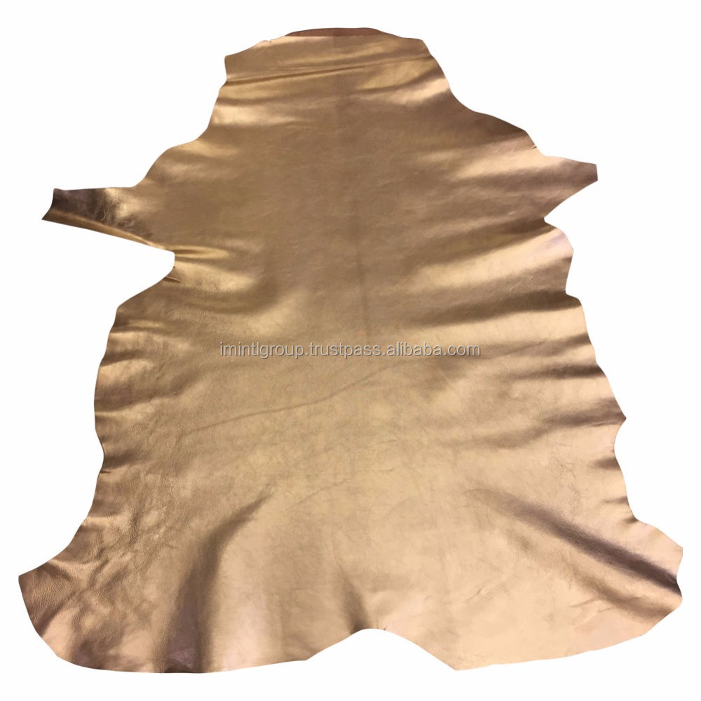 Gold Metallic Genuine sheep skin Full Leather Hides Soft Polished Finish IM.3297
