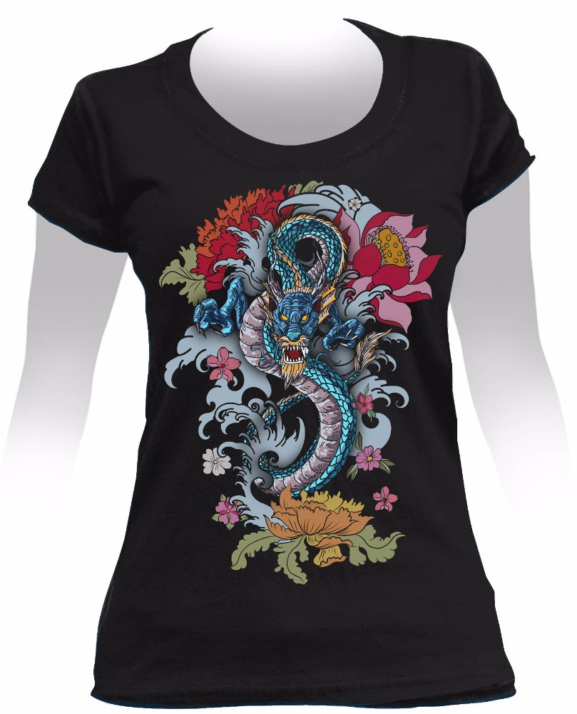 High Quality Printed Cotton Female T-shirt - DRAGON TATTOO