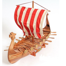 VIKING SAILBOAT MODEL- HIGH QUALITY HANDICRAFT WOODEN SHIP MODEL, HOME DECORATION